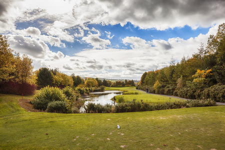 country side: panorama of Ireland autumn country side, golf club