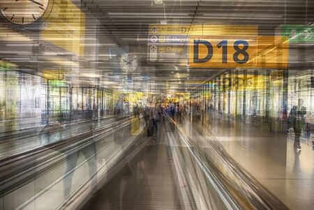 multiple exposition of Amsterdam airport terminal