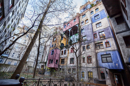 editorial: Editorial : Vienna, Austria, 23 December 2015.  famous colorful Hundertwasser house, view from yard of house