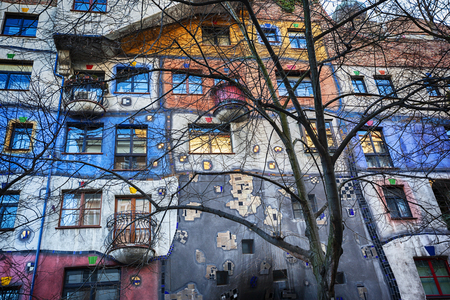 architectural exteriors: Vienna, Austria, 23 December 2015. View on fasad of famous colorful Hundertwasser house. Editorial