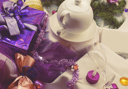 christmas time: still life of winter tea by Christmas time Stock Photo