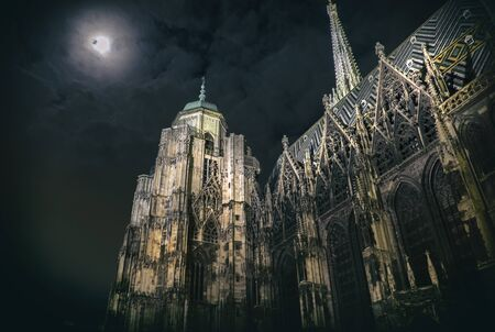 saint stephen cathedral: moon in sky near Stephan Cathedral in Christmas night, 25 December