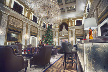 interior of Vienna Hotel Imperial in winter season Stock Photo