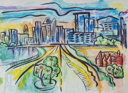 city street: city landscape by ink, tempera, paper collage Stock Photo