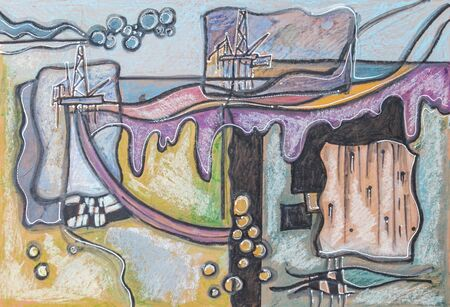 oil industry: illustration of oil industry , watercolor pastel, ink, acrylic pen