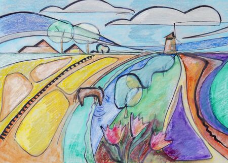soluble: Holland countryside by soluble watercolor pastel and ink