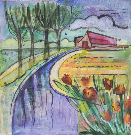 countryside: Holland seasonal painting by  watercolor and tempera Stock Photo