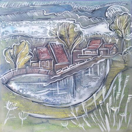 ink painting: Holland seasonal painting by ink, watercolor, tempera