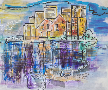 tempera: city landscape by ink, tempera, paper collage, acrylic pen Stock Photo