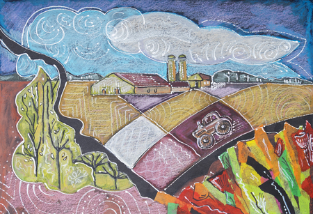 contemporary: Holland countryside by collage from color paper , oil pastel  and ink