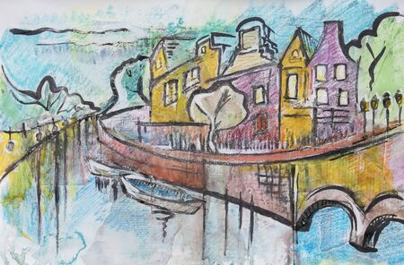 amsterdam canal: typical Amsterdam, painting by ink,oil pastel and paper collage
