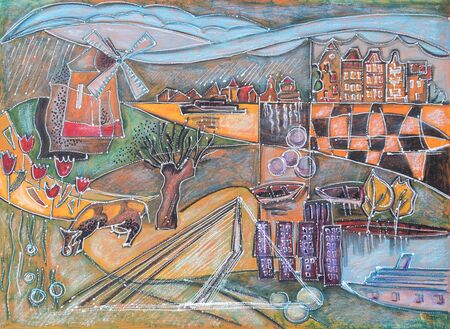 holland: illustration of typical Holland landscape by oil pastel, ink, acrylic pen