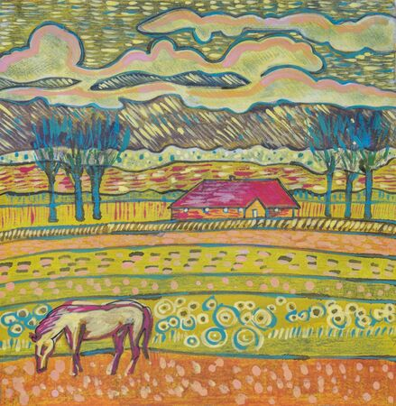 tempera: Holland countryside by color pencils , tempera  and ink Stock Photo
