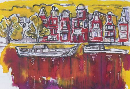 amsterdam canal: typical Amsterdam, painting by ink,oil pastel