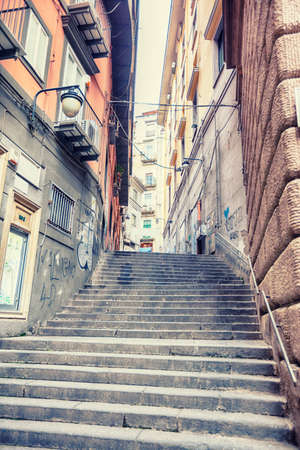 napoli: typical old street in Naples, Italy
