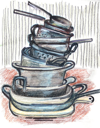 Kitchen pans. Ink,  pencils and water-soluble pastel original drawing on recycle paper