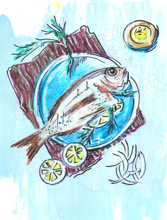 original plate: fish on plate,  ink and pencils original drawing on  paper Stock Photo
