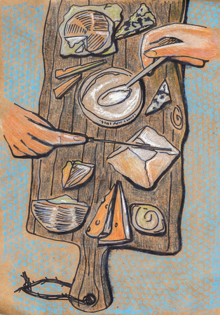 cheese party, ink and pencils original drawing on recycle paper