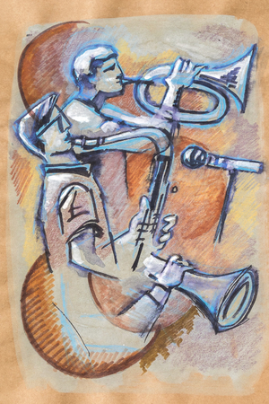 ink drawing: music pause in cafe,  ink and pencils original drawing on recycle paper Stock Photo