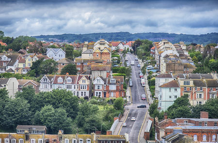 hastings: Hastings Town Center view, East Sussex, England