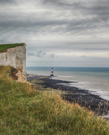 view of Seven Sisters from the Beachy Head cliffs, UK Stock Photo