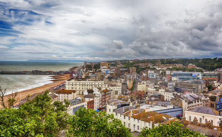 town view at Hastings Town Center with the Pier, East Sussex, England Stock Photo