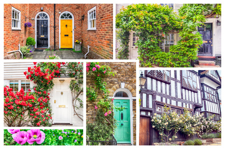 windows and doors: collage from typical english doors and windows Stock Photo