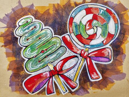 handmade illustration winter sweeties by pencils and markers on kraft paper