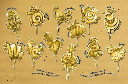 all Chinese year horoscope on paper, lollipops Stock Photo