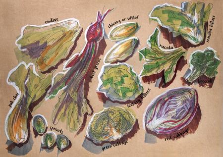 verschillende voedingscomponenten, inkt, stiften en potloden originele tekening op ambachtelijke papier