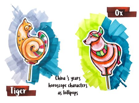 snake calendar: hand drawing horoscope animal as lollipops, tiger and ox