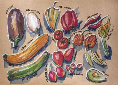 different food components, ink, markers and pencils original drawing on craft paper