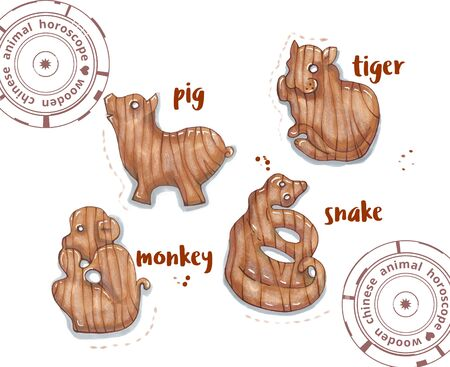 snake calligraphy: hand drawing horoscope animal, wooden toys