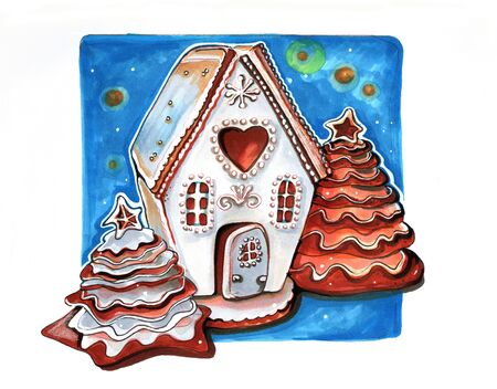 hand drawn cookie gingerbread winter house Stock Photo