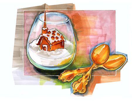 hand drawn illustration of  winter dessert