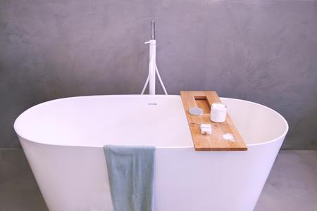 bath room: bath tube in modern bath room