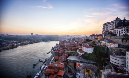 evening sunset view of the Douro river and old part of  Porto, Portugal