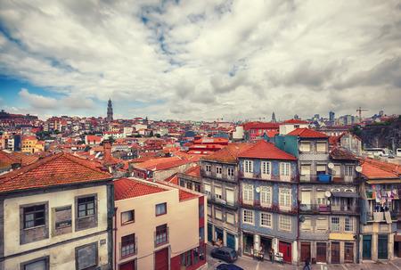 panoramic view of old historic part of Porto Редакционное