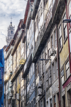 street in Porto, Portugal, typical houses line
