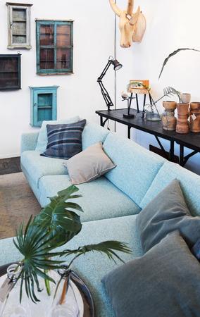 condos: detail of family sofa in home  interior Stock Photo