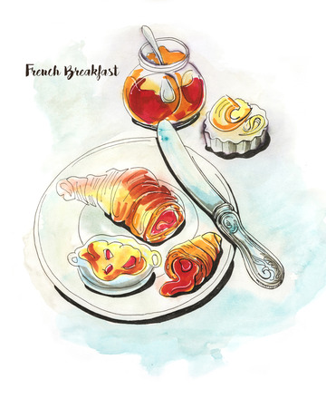 hand drawn French breakfast with croissant Stock Photo