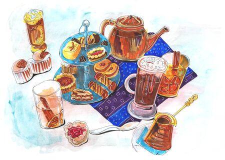 hand drawn illustration of dessert table