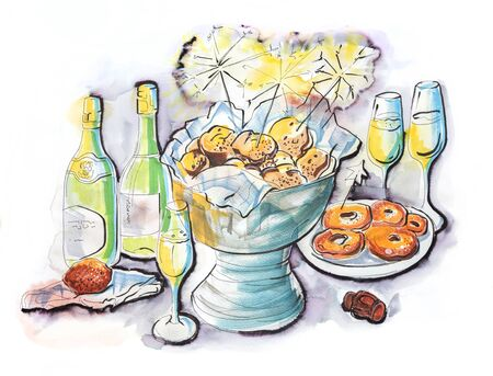 hand drawn illustration of dutch new year party Stock Photo