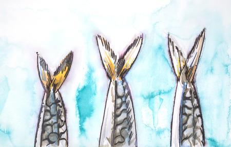 hand drawn background of fish illustration , mackerel
