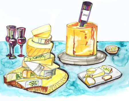 feasting: hand drawn illustration of cheese  party table