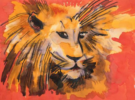 illustration of Leo head, original watercolor Imagens