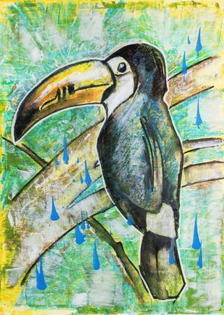 illustration of toucan, original painting