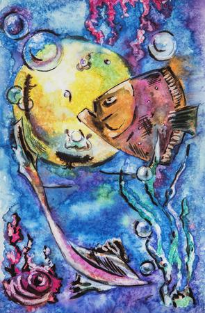 sea water: illustration of Fishes in sea water, original watercolor