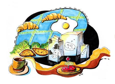 hand drawn illustration of children breakfast table