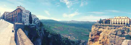 panorama of two side historical village of Ronda, Spain Stock Photo